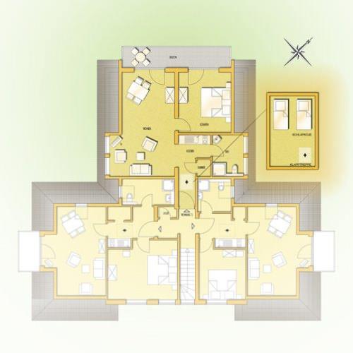 Grundriss des Apartments 5 vom Haus Seeblick im Ostseebad Binz auf Rügen