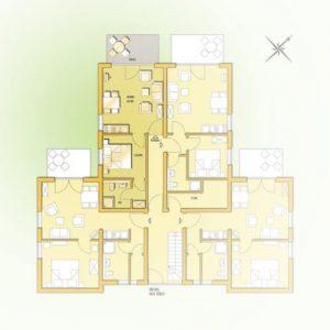 Grundriss der Ferienwohnung 1 vom Haus Seeblick im Ostseebad Binz auf Rügen