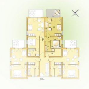 Grundriss der Fewo vom Haus Seeblick im Ostseebad Binz auf Rügen