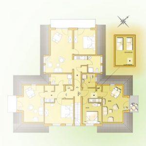 Grundriss der Wohnung 6 vom Haus Seeblick im Ostseebad Binz auf Rügen