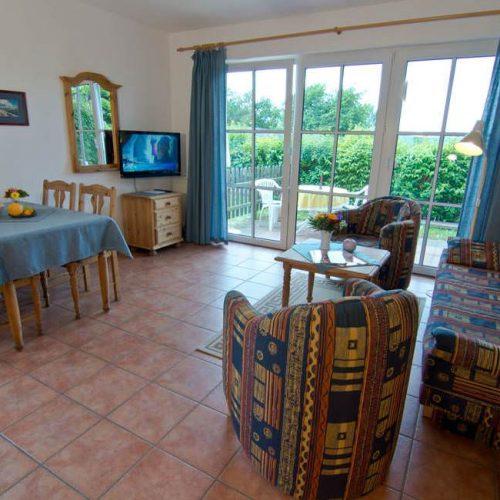 Wohnzimmer der Ferienwohnung vom Haus Seeblick im Ostseebad Binz auf Rügen