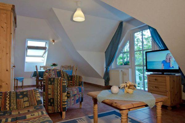 Wohzimmer der Wohnung vom Haus Seeblick im Ostseebad Binz auf Rügen